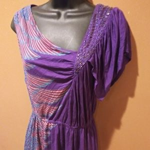 Purple Asymmetrical Multi Color Dress Size Medium
